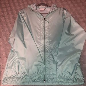 colombia tiffany/baby blue rain jacket with hood.